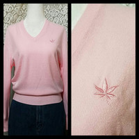 Vintage BOAST Pink V Neck Long sleeve Knit Womens Top Marijuana, Weed Pot Leaf Stoner, Preppy Polo Venice Beach, Size Small Medium