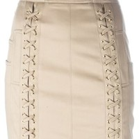 Balmain Lace Fastening Detail Mini Skirt - Julian Fashion - Farfetch.com