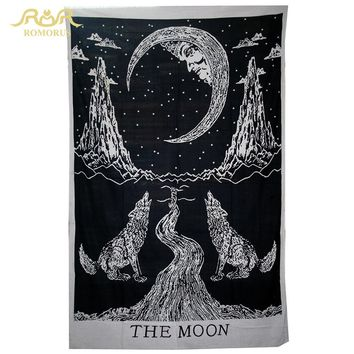 ROMORUS Hot Wall Hanging Indian Wolf Print Black Tapestry 148*200CM Bohemian Tapesties Yoga Mat Beach Towel Room Wall Decoration