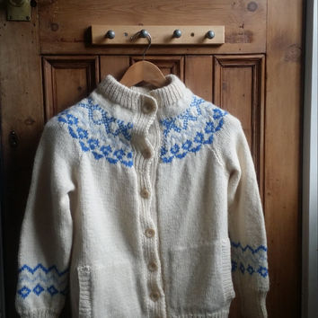 Ladies vintage Scandinavian Nordic cardigan womens clothing knitwear blue cream small jumper sweater Dolly Topsy Etsy UK