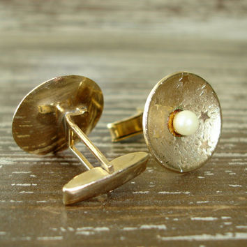 Vintage Glass Pearl Cuff Links, Faux Pearl and Gold Tone Disc Cuff Links with Stars, 1950s Mid Century Mens Jewelry, Gift for Him, Estate