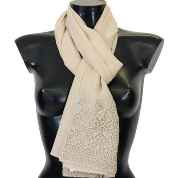 White Cream Silk Lace Scarf