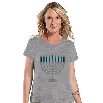 Hanukkah Shirt - Menorah Shirt - Ladies Hanukkah Menorah Grey T-shirt - Happy Hanukkah Outfit - Hanukkah Gift Idea - Family Holiday Shirts