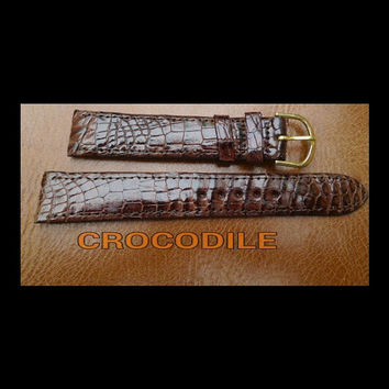 SALE 50% Off Brown Crocodile leather watch strap 18 mm