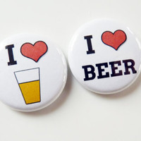 I Heart Beer - Four Beer Alcohol Button Magnets - FREE Magnet