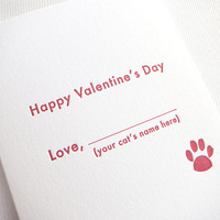 Letterpress Valentine - From The Cat