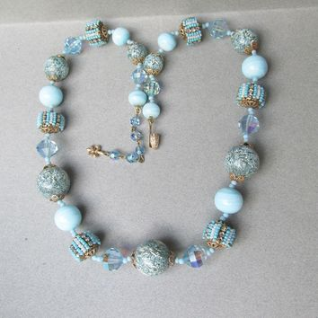 Signed VENDOME Baby Blue Austrian Crystal & Venetian Art Glass Vintage Bead Necklace