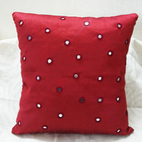 18x18 Mirrorwork Decorative Red Throw Pillow Sofa Pillows Home Decor Accent Pillows Indian Cushion Cover Holiday Decor
