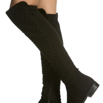 Black Faux Suede Quilted Knee High Boots @ Cicihot Boots Catalog:women's winter boots,leather thigh high boots,black platform knee high boots,over the knee boots,Go Go boots,cowgirl boots,gladiator boots,womens dress boots,skirt boots.