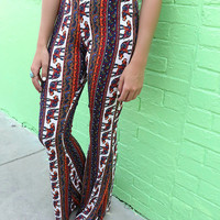 Safari Summer Paisley & Elephant Print Bell Bottoms