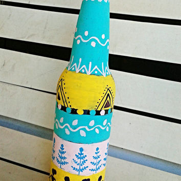 Decorative Bottle, Flower Vase, Indian Warli painting in Marine Green Yellow and PInk, Upcycled Beer Bottle, Unique Gift, Home Decor,Diwali