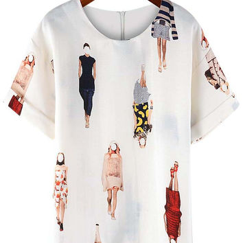 White Catwalks Printed Short Sleeve Zip Up Top
