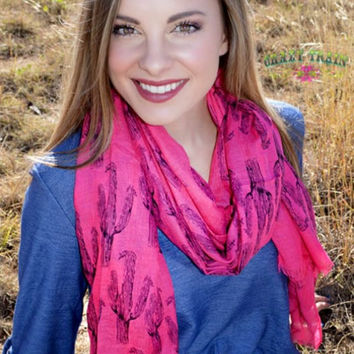 Hot Pink Cadillac Cactus Scarf by Crazy Train