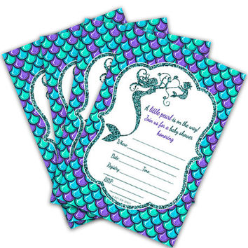 10ct  Mermaid Girl Baby Shower Invitations - Purple Under The Sea Baby Shower - Fill In Blanks - Faux Glitter - Teal Aqua Ocean