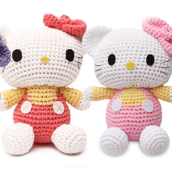 Pink Cute Kitty Handmade Amigurumi Stuffed Toy Knit Crochet Doll VAC