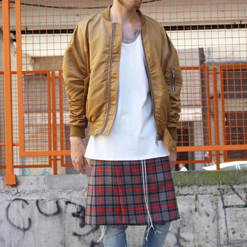 JUSTIN BIEBER with the Scottish wind FOG lattice high street tide men level skirt pants East Gate Bibo tour