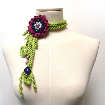 Crochet Cotton Lariat Necklace - Lime Green Leaves and Purple Blue Flower with Glass Pearls - LITTLE PEONY