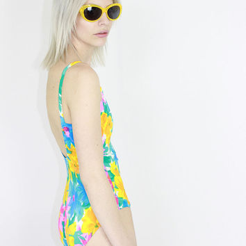 d5470c65ec 80s sunny side ruched floral Onesuit swim suit blue low cut back