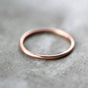 Women's Slim Gold Wedding Band Skinny Round Recycled by TheSlyFox