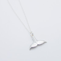 Whale tail sterling silver necklace