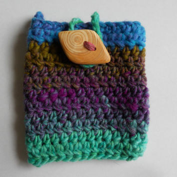 Crocheted Pouch Cell Phone Holder by AnnieKints on Etsy
