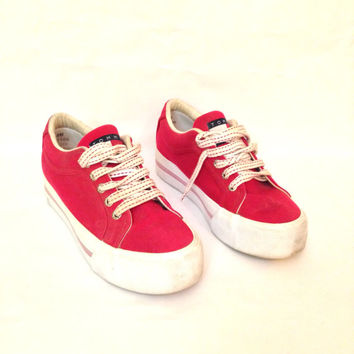 90s Platform Sneakers 8 - Red Platform Shoes 8 - Tommy Hilfiger Shoes 8 - Platform Lace Up Tennies 8