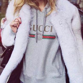 LMFOK3 GUCCI : Hooded head letter stamp leisure loose sweater