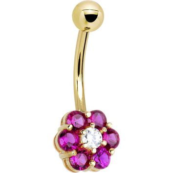 Solid 14kt Yellow Gold Red Clear Cubic Zirconia Flower Belly Ring
