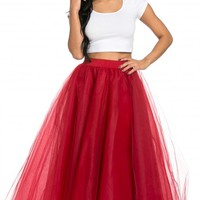 Structured Maxi Tulle Skirt in Red (Plus Sizes Available)