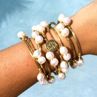 Pretty in Pearls Monogram Charm Wire Wrapped Bangle Bracelet – I Love Jewelry