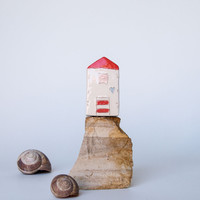Summer Beach house - Handmade ceramic miniature