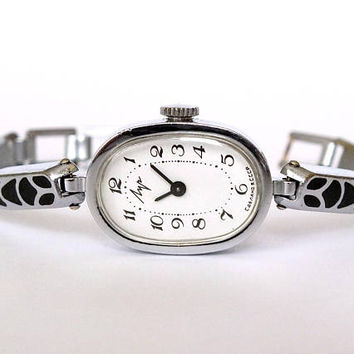 Watch Bracelet LUCH. Womens Watches. Vintage Mechanical Watch For Women. Ladies Watch. Elegant Silver Tone Watch Bracelet. Gift For Her.