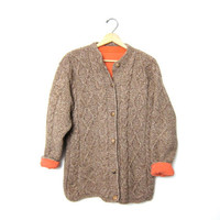 Vintage brown WOOL sweater Fisherman's sweater CHUNKY knit cardigan sweater with pockets Oversized cable knit sweater coat Lined Cable Knit.