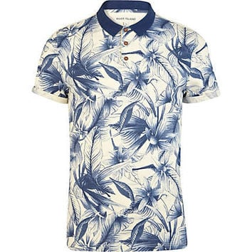 Blue floral print polo shirt - polo shirts - t-shirts / tanks - men
