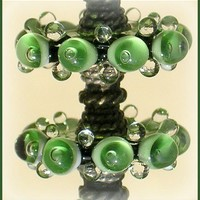 Olive Green Beads, Lampwork Glass Beads, Handmade Lampwork Bubble Disc Beads Set (6)