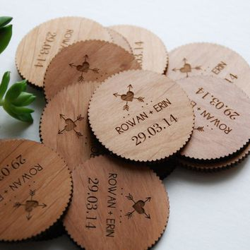 Alder Wood Save The Date Magnet   Laser Cut Arrow Design   Set Of 100