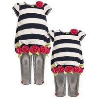 Bonnie Jean Baby/INFANT 12M-24M 2-Piece NAVY-BLUE WHITE RED ROLLED ROSETTE TWIN STRIPED KNIT Girl Party Dress-Tunic and Legging Set