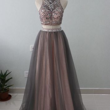 Brown Tulle Two 2 Pieces Prom Dresses 2018 Luxury Beaded Crystals Crop Top Long High Neck Evening Dress Graduation Party Gowns