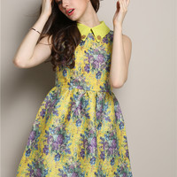 Floral Pointed Flat Collar Sleeveless High Waist A-Line Mini Skater Dress