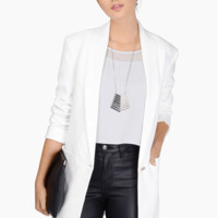 White Long-Sleeve Button Blazer With Pocket