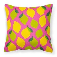 Lemons and Limes on Pink Fabric Decorative Pillow BB5143PW1818