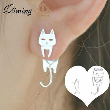 QIMING Silver Big Cat Earrings Women Girls Lovely Cats and Fish Stud Earrings 2018 Girls Baby Gift Korean Jewelry Accessories