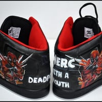 Custom Mens Shoes, Painted Shoes, Deadpool, Painted Hightops, Painted Nike, Custom Jordans, Deadpool Shoes, Deadpool Hightops, Deadpool Fan