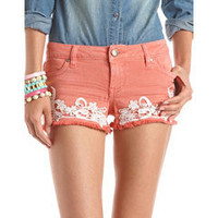Hot Kiss Lace Trim Denim Short: Charlotte Russe