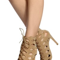 Nude Faux Suede Cut Out Lace Up Heels @ Cicihot Heel Shoes online store sales:Stiletto Heel Shoes,High Heel Pumps,Womens High Heel Shoes,Prom Shoes,Summer Shoes,Spring Shoes,Spool Heel,Womens Dress Shoes