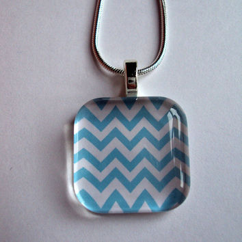 Trendy Chevron Art Pendant in Soft Blue or Lime Green