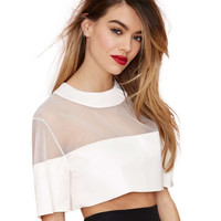 White Round Neckline Sheer Mesh Crop Top