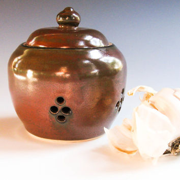 Small Ceramic Garlic Keeper, Garlic Roaster, Garlic Pot