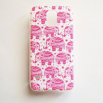 Samsung Galaxy S5 Pink Elephant Pattern Case Soft Plastic Pink Galaxy S5 Back Cover Cute Samsung S5 Cover