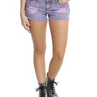 Blackheart Pastel Purple Distressed Shorts